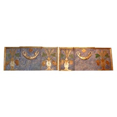 Pair of 19th Century Italian Painted and Parcel Gilt Architectural Panels