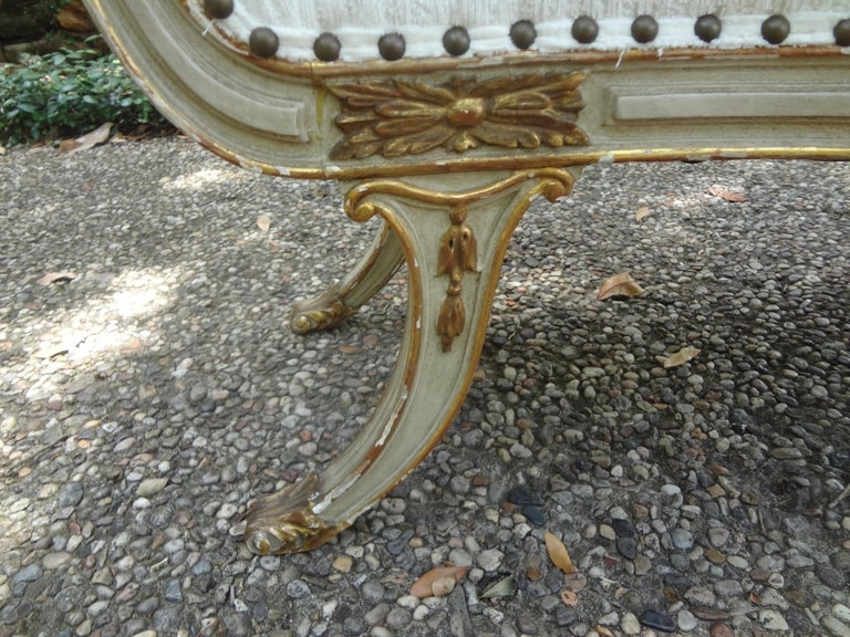 Pair of 19th Century Italian Painted and Parcel-Gilt Benches In Good Condition For Sale In Houston, TX