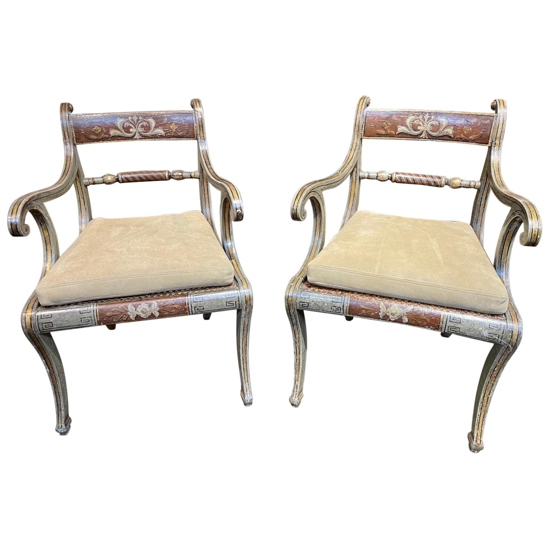 Pair of 19th Century Italian Painted Regency Style Armchairs
