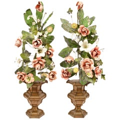 Pair of 19th Century Italian Painted Tole Altar Flowers in Baroque Bronze Urns