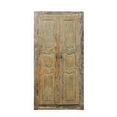 Pair of 19th Century Italian Painted Wood Doors in Sea Green-Blue Color