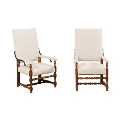 Pair of 19th Century Italian Reclining-Back Armchairs, Louis XIII Style