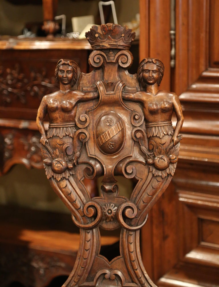 Pair of 19th Century Italian Renaissance Carved Walnut Sgabello Hall Chairs For Sale 6