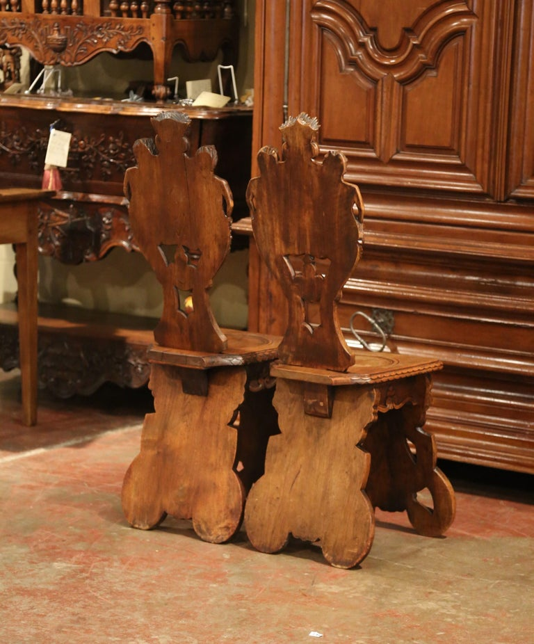 Pair of 19th Century Italian Renaissance Carved Walnut Sgabello Hall Chairs For Sale 9