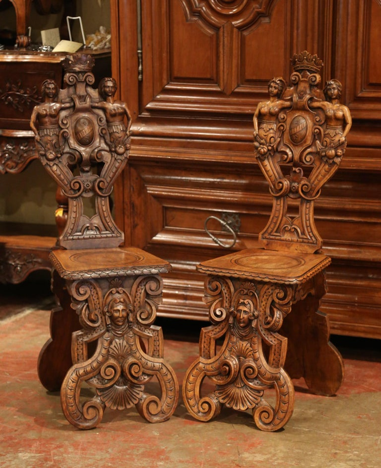 Pair of 19th Century Italian Renaissance Carved Walnut Sgabello Hall Chairs For Sale 2