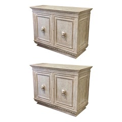 Pair of 19th Century Italian Renaissance Style Carved and Painted Cabinets
