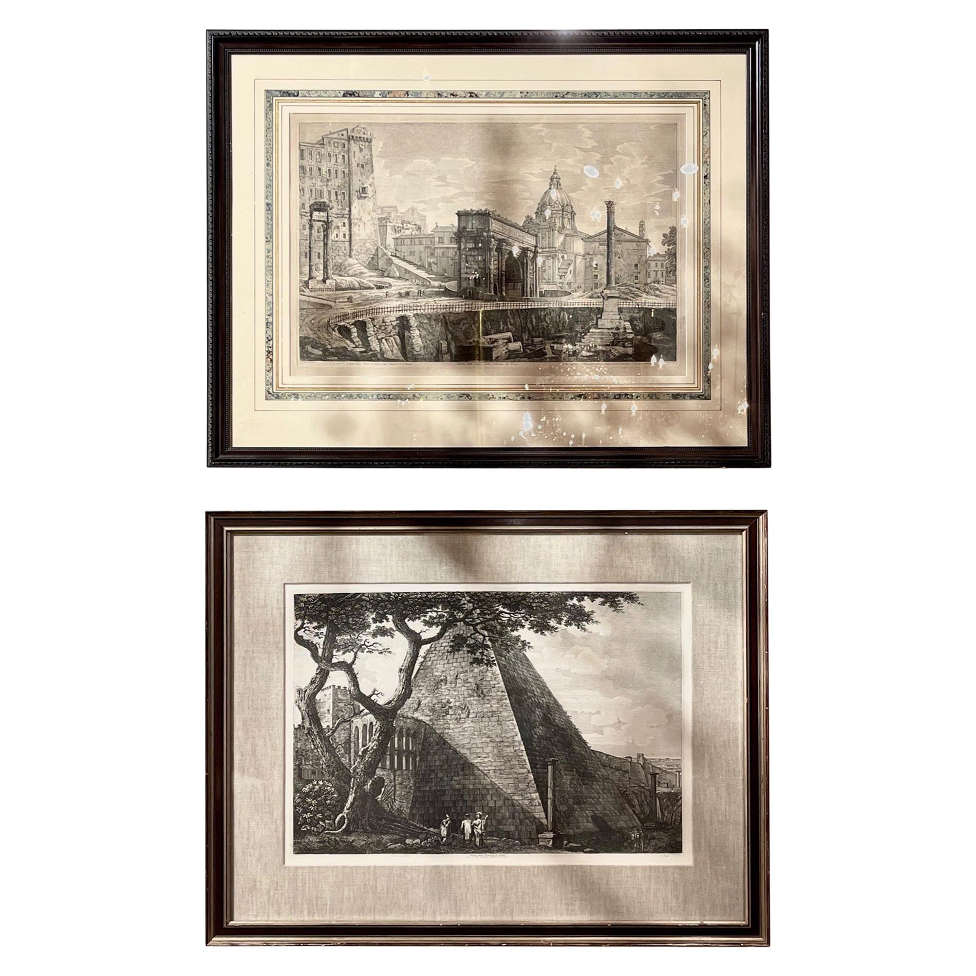 Pair of 19th Century Italian Roman Scene Copper Engravings