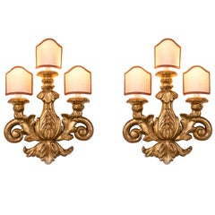 Pair of 19th Century Italian Sconces Carved Gilt Wood Three-Light Wall Lights