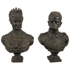 Pair of 19th Century Italian Sculptures, Painted Terracotta, King Queen, Italy