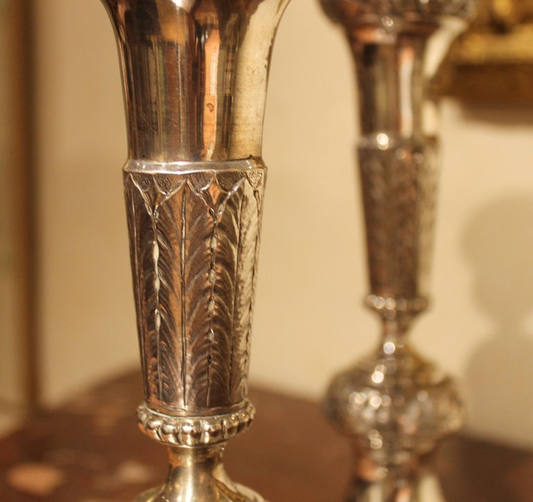 Pair of 19th Century Italian Silver Candlesticks Chiseled with Floral Patterns For Sale 7