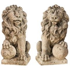 Pair of 19th Century Italian Stone Sculptures, Lions, Venice Venetian Garden