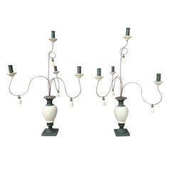 Pair of 19th Century Italian Tole & Wood Four-Candle Candelabras, Custom Finish
