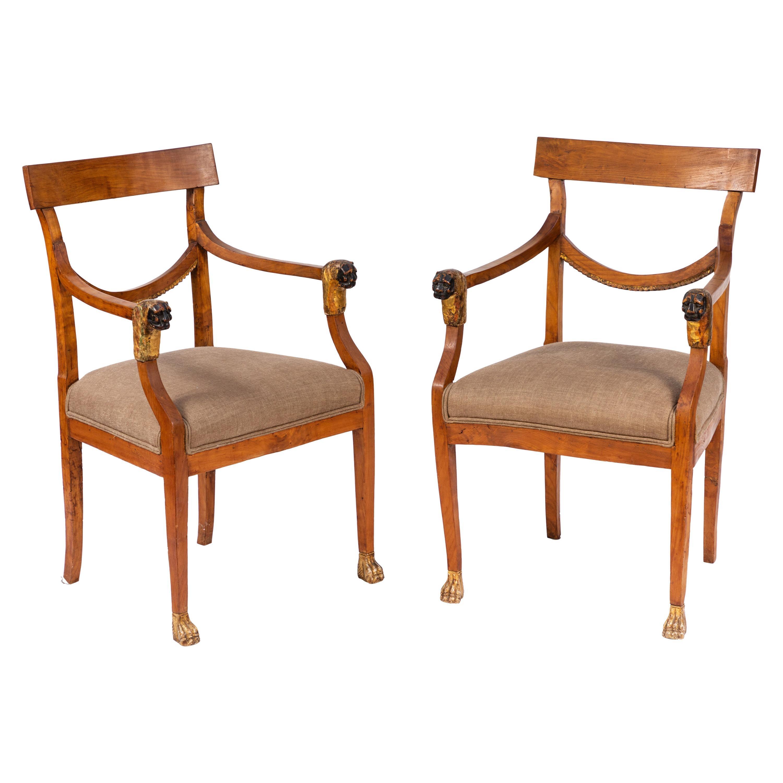 Pair of 19th Century Italian Walnut Armchairs