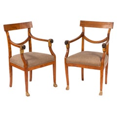 Pair of 19th Century Italian Walnut Armchairs