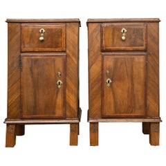 Pair of 19th Century Italian Walnut Bedside Cabinets