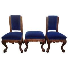 Pair of 19th Century Italian Walnut Children's Chairs with Matching Ottoman