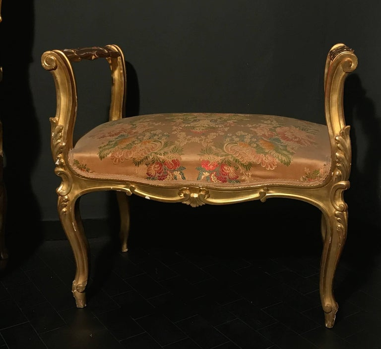Giltwood Pair of 19th Century Italian Window Benches or Settees For Sale
