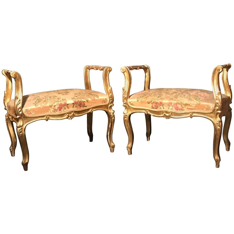 Pair of 19th Century Italian Window Benches or Settees For Sale