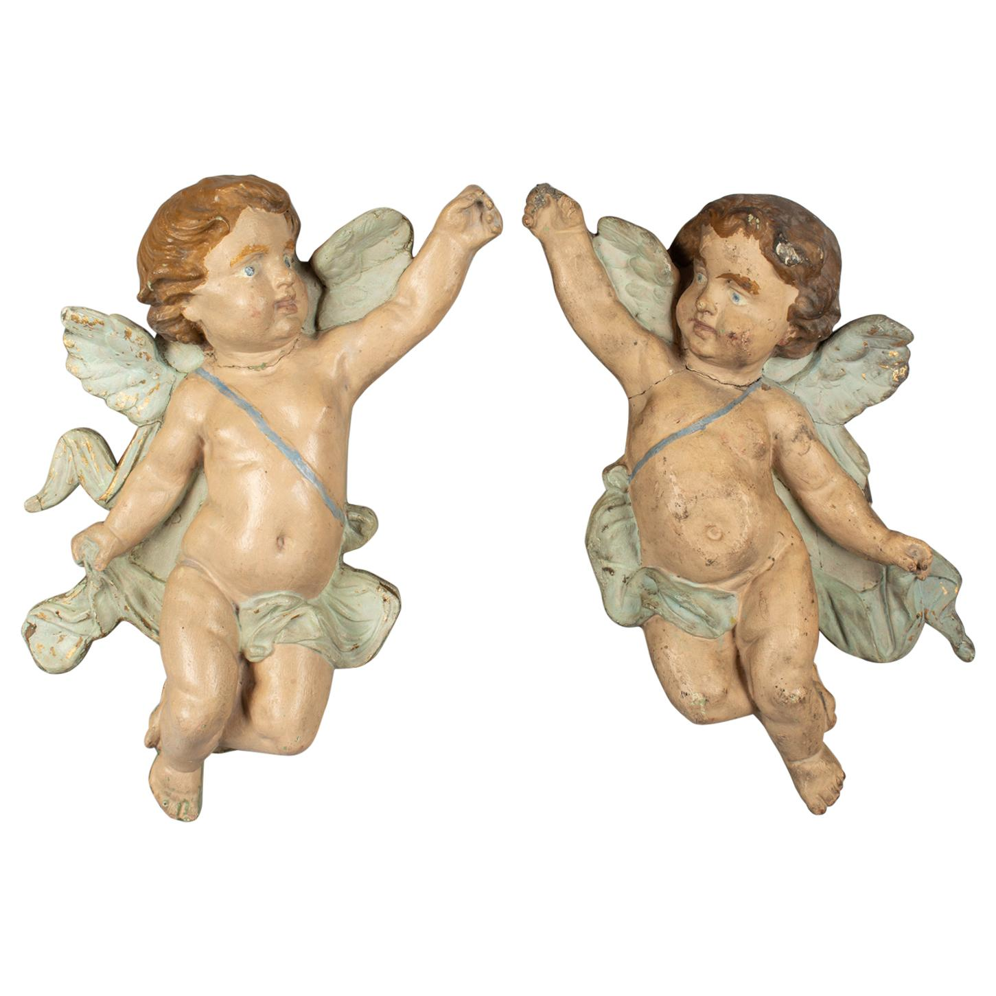 Pair of 19th Century Italian Winged Putti Wall Sculptures