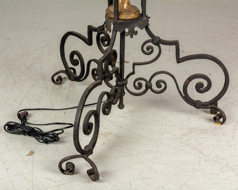 Pair of 19th Century Italian Wrought Iron Torchieres For Sale 4
