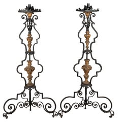 Pair of 19th Century Italian Wrought Iron Torchieres