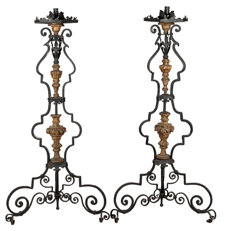 Pair of 19th Century Italian Wrought Iron Torchieres For Sale