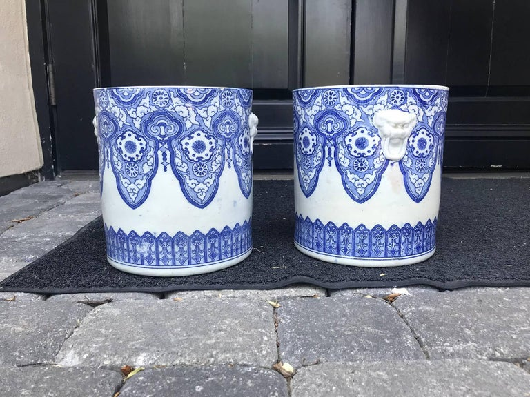 Pair of 19th Century Japanese Blue and White Cachepots, Prob. Braziers In Good Condition For Sale In Atlanta, GA