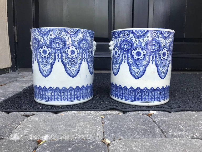 Pair of 19th Century Japanese Blue and White Cachepots, Prob. Braziers For Sale 1