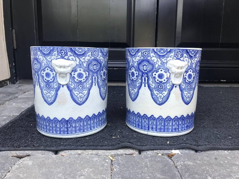 Pair of 19th Century Japanese Blue and White Cachepots, Prob. Braziers For Sale 2