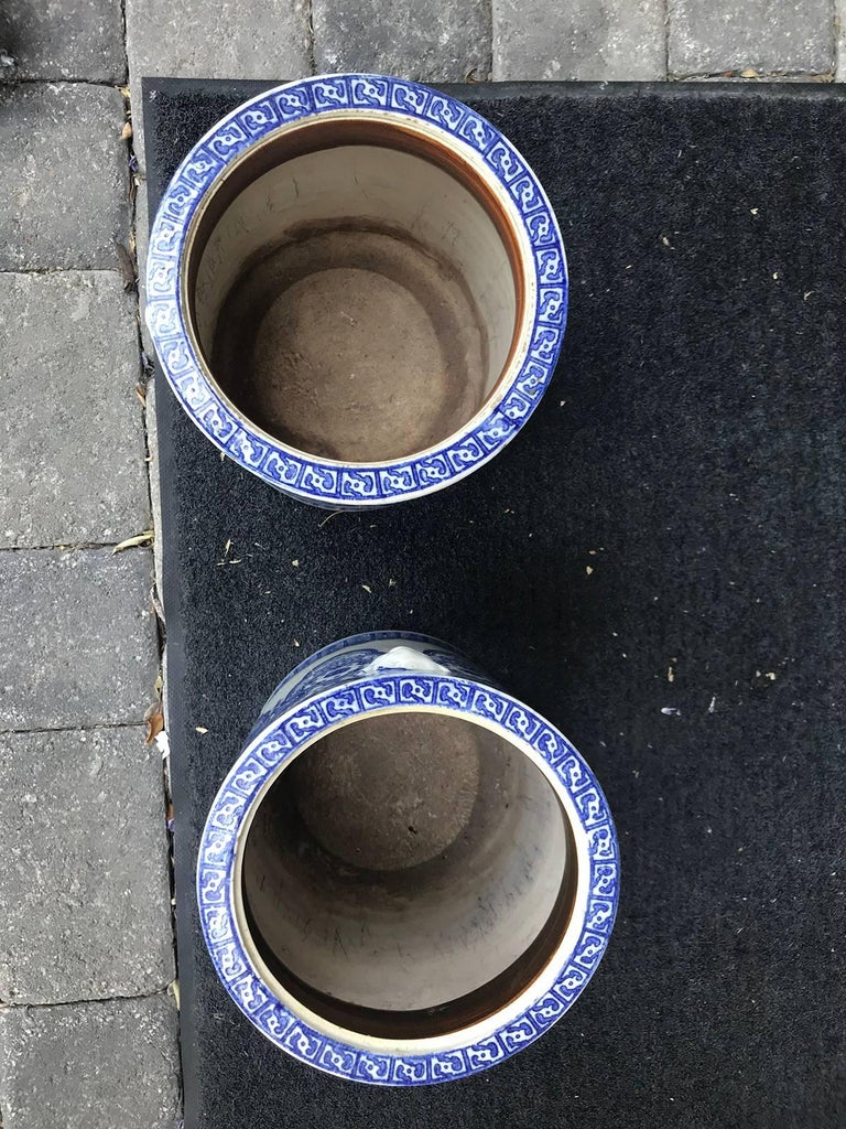 Pair of 19th Century Japanese Blue and White Cachepots, Prob. Braziers For Sale 3