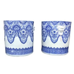 Pair of 19th Century Japanese Blue and White Cachepots, Prob. Braziers