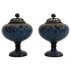 Pair of 19th Century Japanese Cloisonné Censors