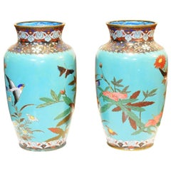 Pair of 19th Century Japanese Cloisonné Vases