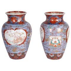 Pair of 19th Century Japanese Fukagawa Vases