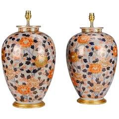 Pair of 19th Century Japanese Fukugawa Porcelain Antique Table Lamps