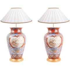 Pair of 19th Century Japanese Imari Lamps
