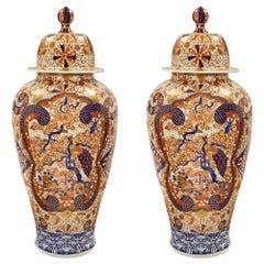 Pair of 19th Century Japanese Imari Porcelain Urns