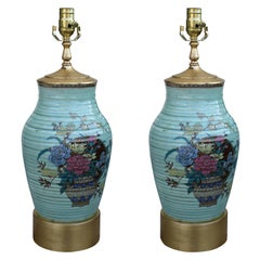 Pair of 19th Century Japanese Kutani Pottery Lamps on Custom Gilt Bases