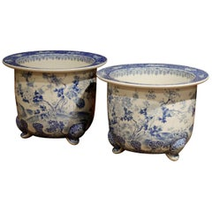 Pair of 19th Century Japanese Meiji Period Blue and White Porcelain Cache-Pots
