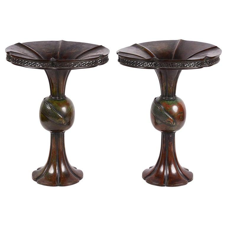 Pair of 19th Century Japanese Meiji Period Bronze Carp Vases For Sale