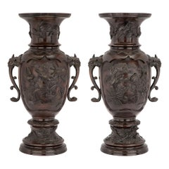 Pair of 19th Century Japanese Meiji Period Patinated Bronze Urns