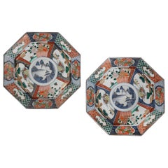 Pair of 19th Century Chinese Octagonal Imari Chargers
