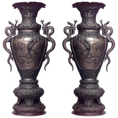 Pair of 19th Century Japanese Palace Urns
