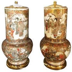 Pair of 19th Century Japanese Satsuma Vases / Lamps