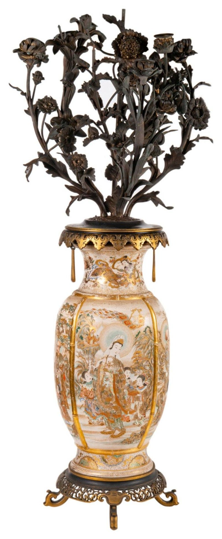 A fine quality pair of late 19th century Japanese Satsuma vases / candelabra. Each having wonderful bronze flower and leaf six branch candelabra, gilded ormolu scalloped rims with handles beneath, reclining Geisha girls around the necks, classical