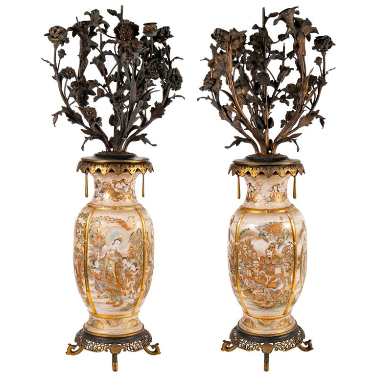 Pair of 19th Century Japanese Satsuma Vases / Candelabra