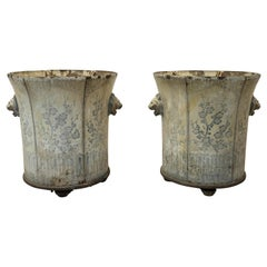 Pair of 19th Century Jardiniers de Rouen in Cast Iron and Enamel (Urns)