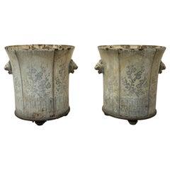 Pair of 19th Century Jardiniers de Rouen in Cast Iron and Enamel