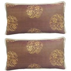 Pair of 19th Century Kesa Decorative Lumbar Pillows with Silk Trims