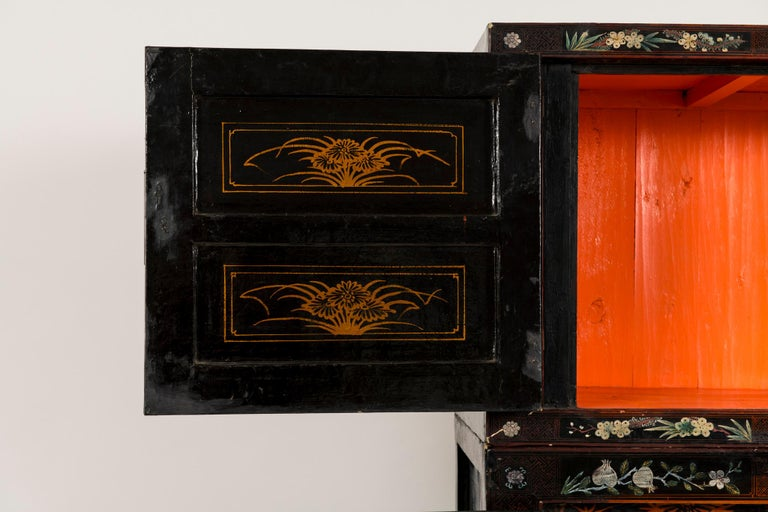 Pair of Early 20th Chinese Ming Style Painted Cabinets For Sale 5